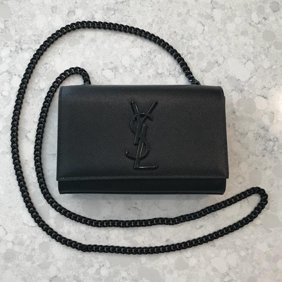 28e84e47c38a YSL Small Kate Leather Shoulder Bag All Black RARE.  M 5bb8cb99d6dc529b56e9857f